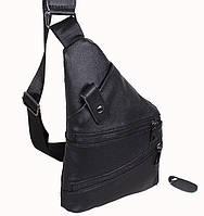 Сумка мужская кожаная через плечо барсетка косуха рюкзак мессенджер Евро черная 8s8 Польша