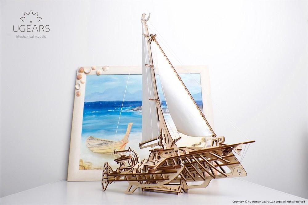 Механический 3D пазл «Тримаран Мерихобус» деревянный конструктор UGears
