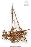 Механический 3D пазл «Тримаран Мерихобус» деревянный конструктор UGears, фото 8