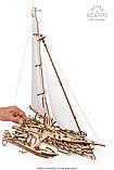 Механический 3D пазл «Тримаран Мерихобус» деревянный конструктор UGears, фото 9