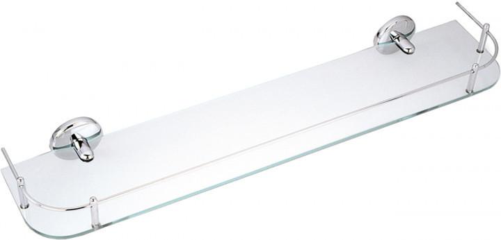 Полочка стеклянная 600 мм FERRO METALIA 1 с перилами прямоугольная 6153.0