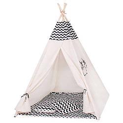 Детская палатка вигвам Springos Tipi Xxl White/Black SKL41-277678