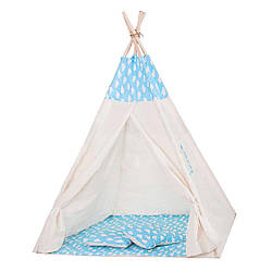 Детская палатка вигвам Springos Tipi Xxl White/Sky Blue SKL41-277681