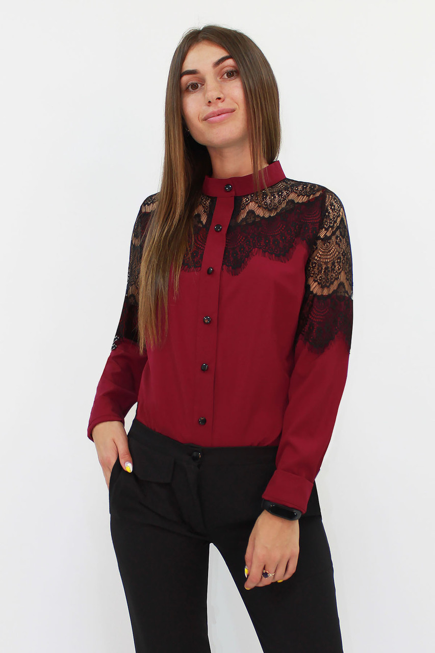 Романтическая блузка с кружевом Gilmor, марсала
