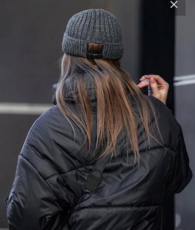 Шапка жіноча докерка темно-сіра із застібкою ззаду 252, фото 2