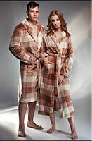 Мужской халат теплый в клетку Shato 1334 капучино