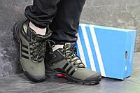 Мужские зимние кроссовки Adidas 6764 темно зелёные, фото 1