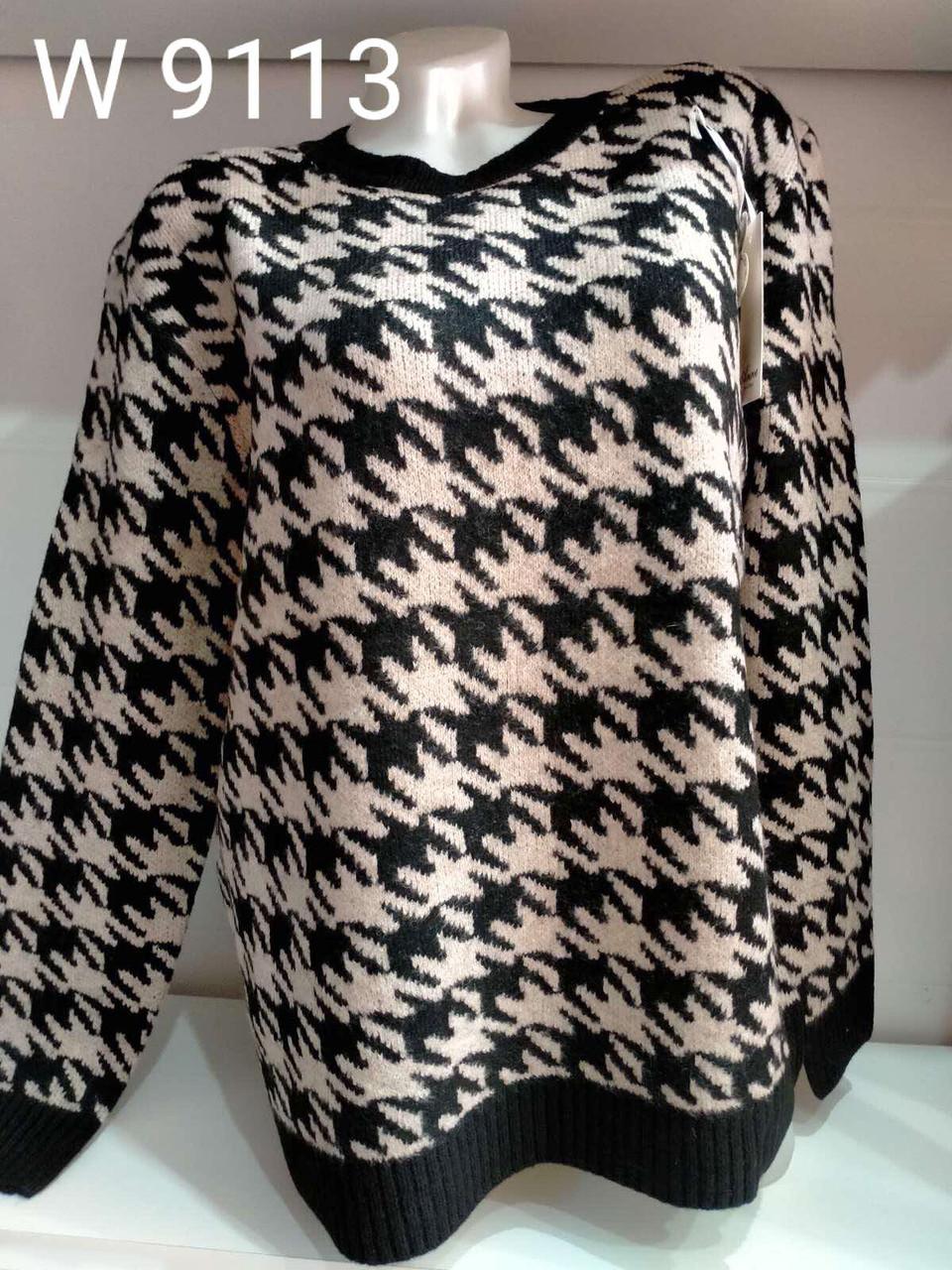 Батальний теплий жіночий светр в гусячу лапку 48-54 (в кольорах)
