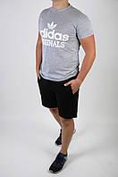 Футболка Adidas белая + шорты черные мужские летние