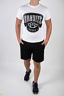 Футболка Bandits style белая + шорты черные мужские летние