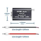 Підсилювач звуку VHM337 TPA3116 50W X2 Bluetooth 5.0 AUX USB плеєр MINI Бездротовий аудіо 2.0 Стерео 12-24в, фото 6