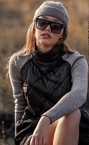 Женская Шапка -докерка серая бини из трикотажа-резинки, фото 2