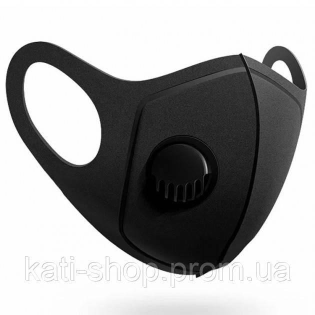 Многоразовая маска Pitta MASK с клапаном выдоха Черная (эластичный полиуретан)