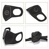 Многоразовая маска Pitta MASK с клапаном выдоха Черная (эластичный полиуретан), фото 8