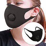 Многоразовая маска Pitta MASK с клапаном выдоха Черная (эластичный полиуретан), фото 10
