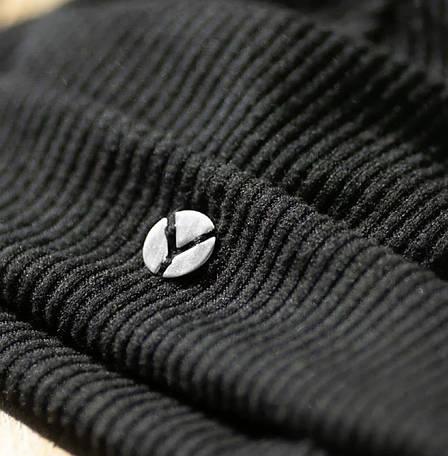Женская Шапка -докерка  бини черная из трикотажа-резинки, фото 2