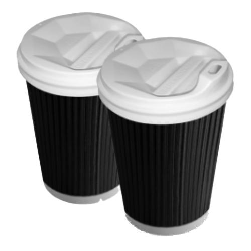 Бумажные стаканы 350 (400) мл Евро, двухслойные, Гофра, чёрный, белый внутри, 25 шт./рукав (арт.0108)
