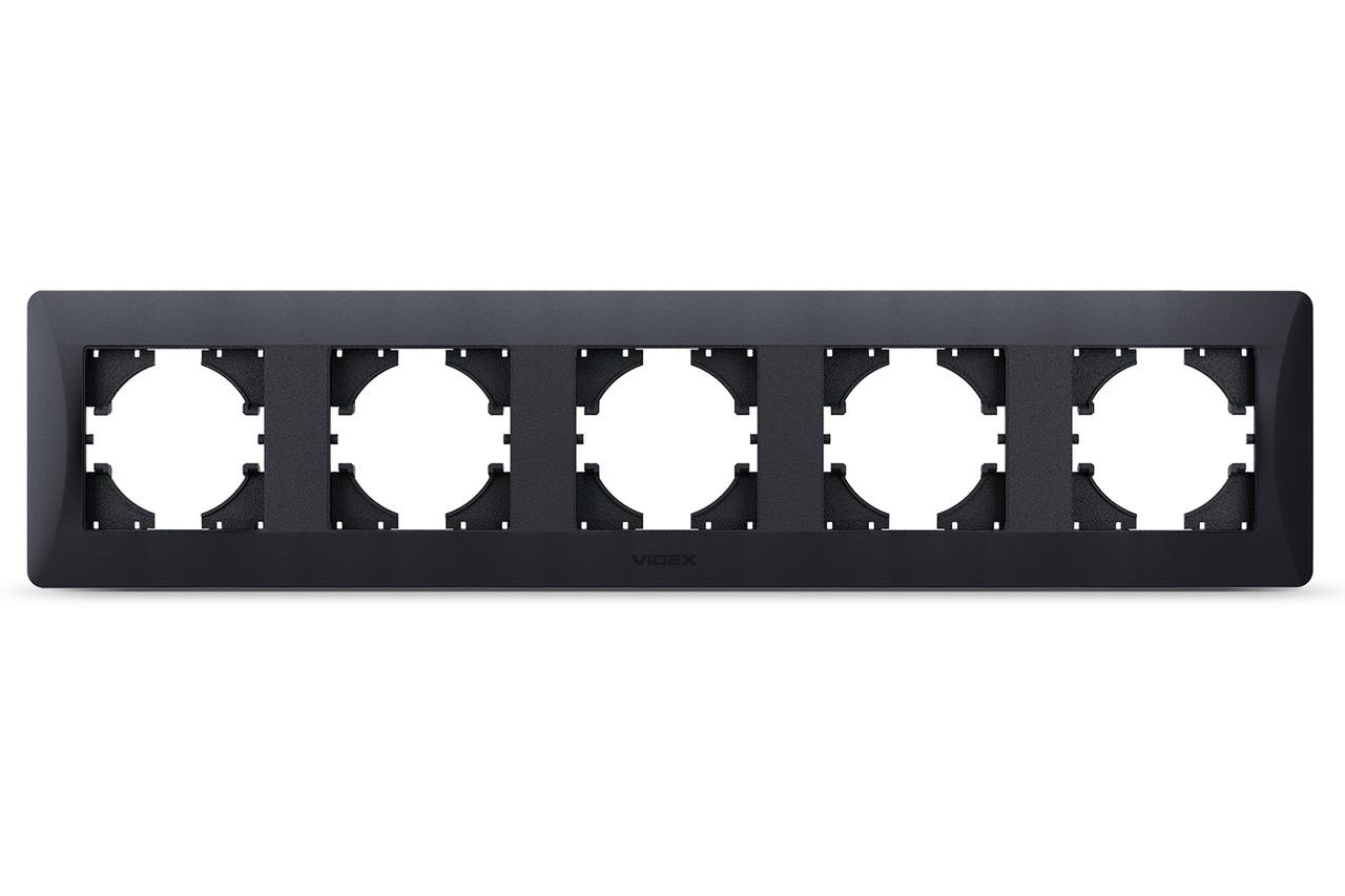 VIDEX BINERA Рамка черный графит на 5 мест горизонтальная VF-BNFR5H-BG 24621