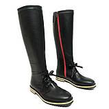 Чорні шкіряні чоботи з червоною блискавкою, фото 4