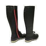 Чорні шкіряні чоботи з червоною блискавкою, фото 6
