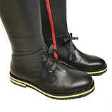 Чорні шкіряні чоботи з червоною блискавкою, фото 5