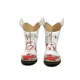 Ботинки-казаки на низком ходу, цвет белый-серебро-красный, фото 4
