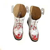 Ботинки-казаки на низком ходу, цвет белый-серебро-красный, фото 5