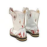 Ботинки-казаки на низком ходу, цвет белый-серебро-красный, фото 6