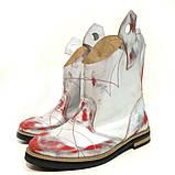 Ботинки-казаки на низком ходу, цвет белый-серебро-красный, фото 3