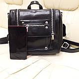 Женский черный рюкзак сумка из натуральной кожи Black, фото 6