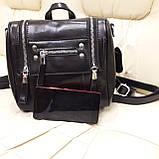 Женский черный рюкзак сумка из натуральной кожи Black, фото 5