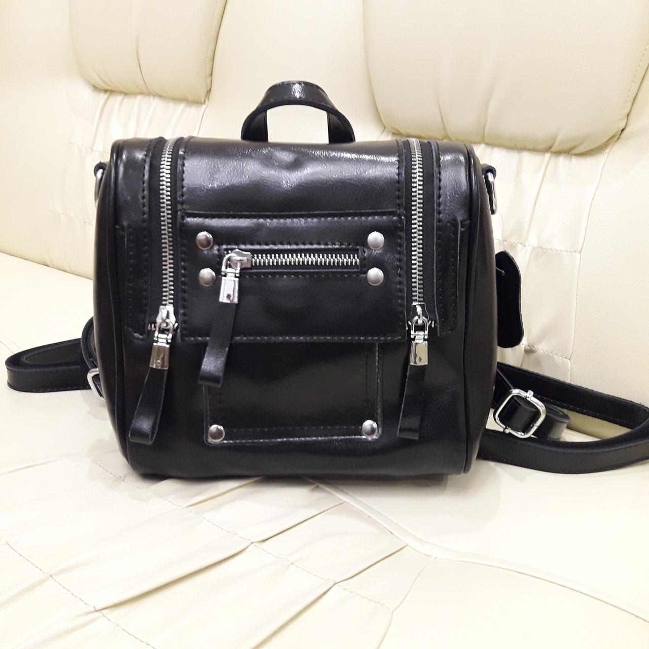 Женский черный рюкзак сумка из натуральной кожи Black