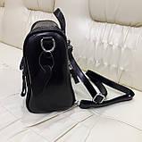 Женский черный рюкзак сумка из натуральной кожи Black, фото 7