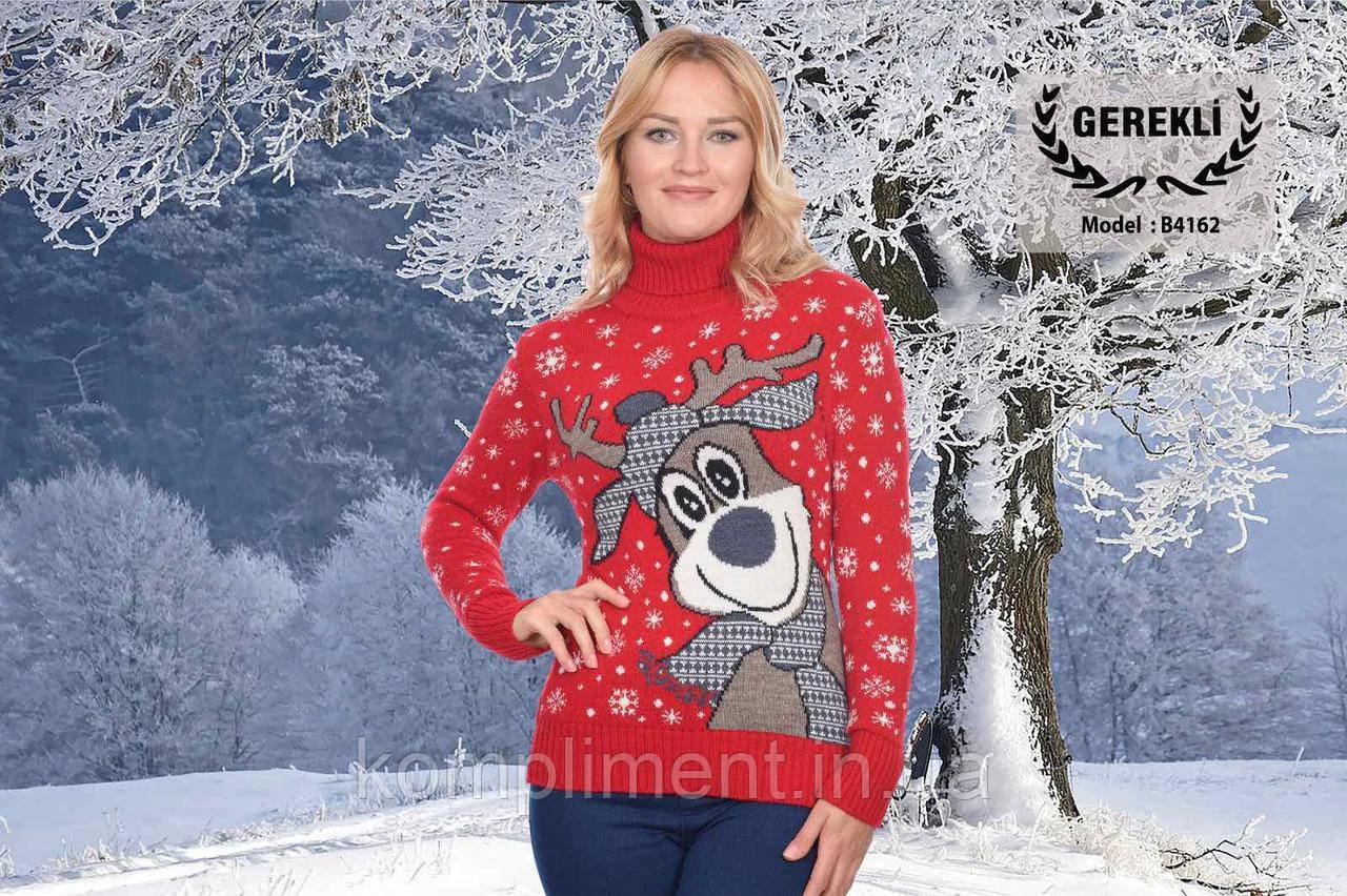 Женский шерстяной свитер с рисунком олень в шарфике, красный. Турция.