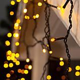 Новогодняя уличная гирлянда БАХРОМА 100 LED 3 м * 0, 7 м, черный каучук 3.3 мм, теплый белый + FLASH, фото 3