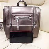 Женский бронзовый рюкзак сумка из натуральной кожи Bronze, фото 8