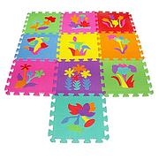 Детский Коврик Мозаика Пазл для пола М 0386 EVA Цветы, 10 деталей, упаковка