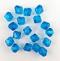 Пластиковая бусина, граненый биконус, голубая 8х7 мм, 500 г