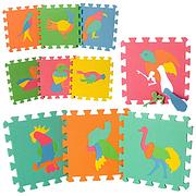 Детский Коврик Мозаика Пазл для пола М 0387 EVA Птицы, 10 деталей, упаковка