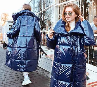 """Женское тёплое пальто-одеяло в больших размерах """"Плащёвка Лаке Завязки"""" в расцветках (ВЯ-33/1)"""