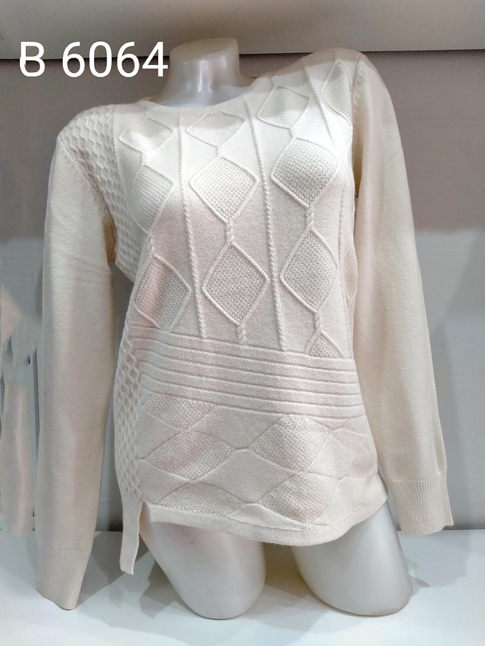 Повседневный свитер с трикотажными узорами 46-52 (в расцветках)