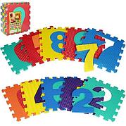 Детский Коврик Мозаика Пазл для пола М 2608 EVA Цифры,  с массажным эффектом, 10 деталей, упаковка