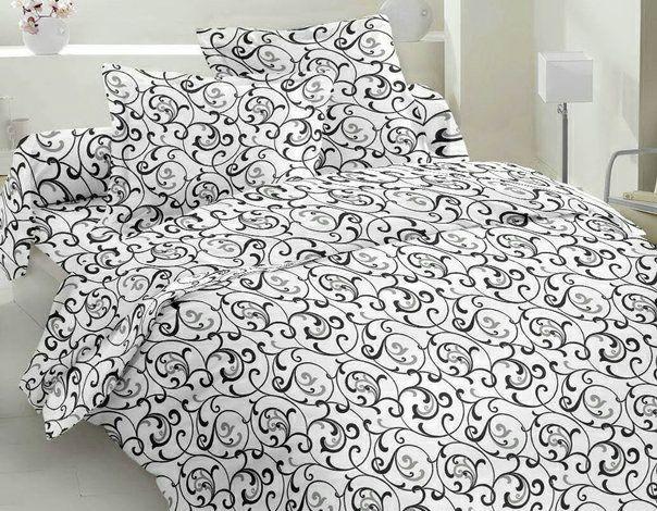 Постельное белье бязь Голд двуспальное Белые завитушки