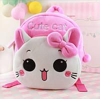 """Детский мягкий плюшевый рюкзак для девочки 1-3 года """"Милый котенок"""""""
