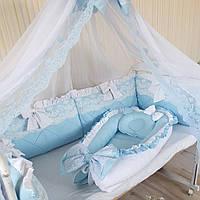 """Комплект в кроватку """" бело-голубой """", фото 1"""