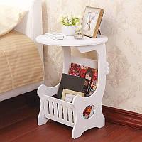 Круглый прикроватный столик с ящиком для мелочей / Столик журнальный, кофейный столик, придиванный стол