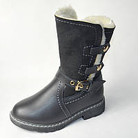Детские зимние кожаные сапоги для девочки серые 27р 18см