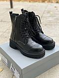 🔥 Ботинки женские демисезонные Balenciaga Boot Tractor черные кожаные кожа теплые высокие термо, фото 5