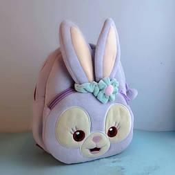 Детский мягкий плюшевый рюкзак для девочки 1-3 года Зайчик
