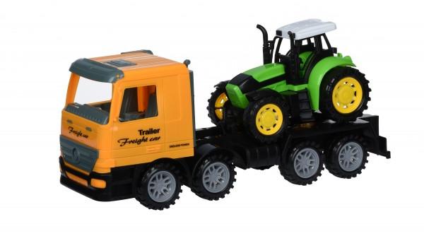 Same Toy Машинка інерційна Super Combination - Тягач жовтий з трактором